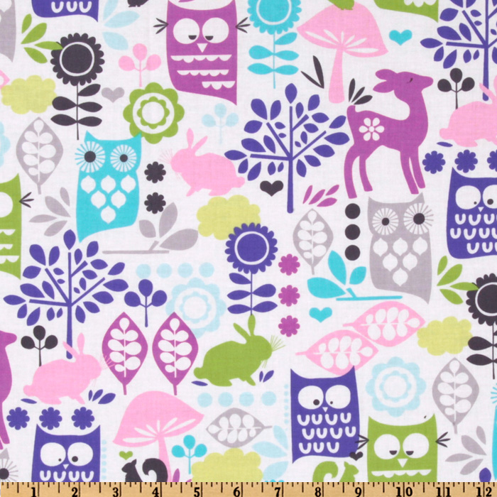 Michael Miller Retro Forest Life Orchid Fabric