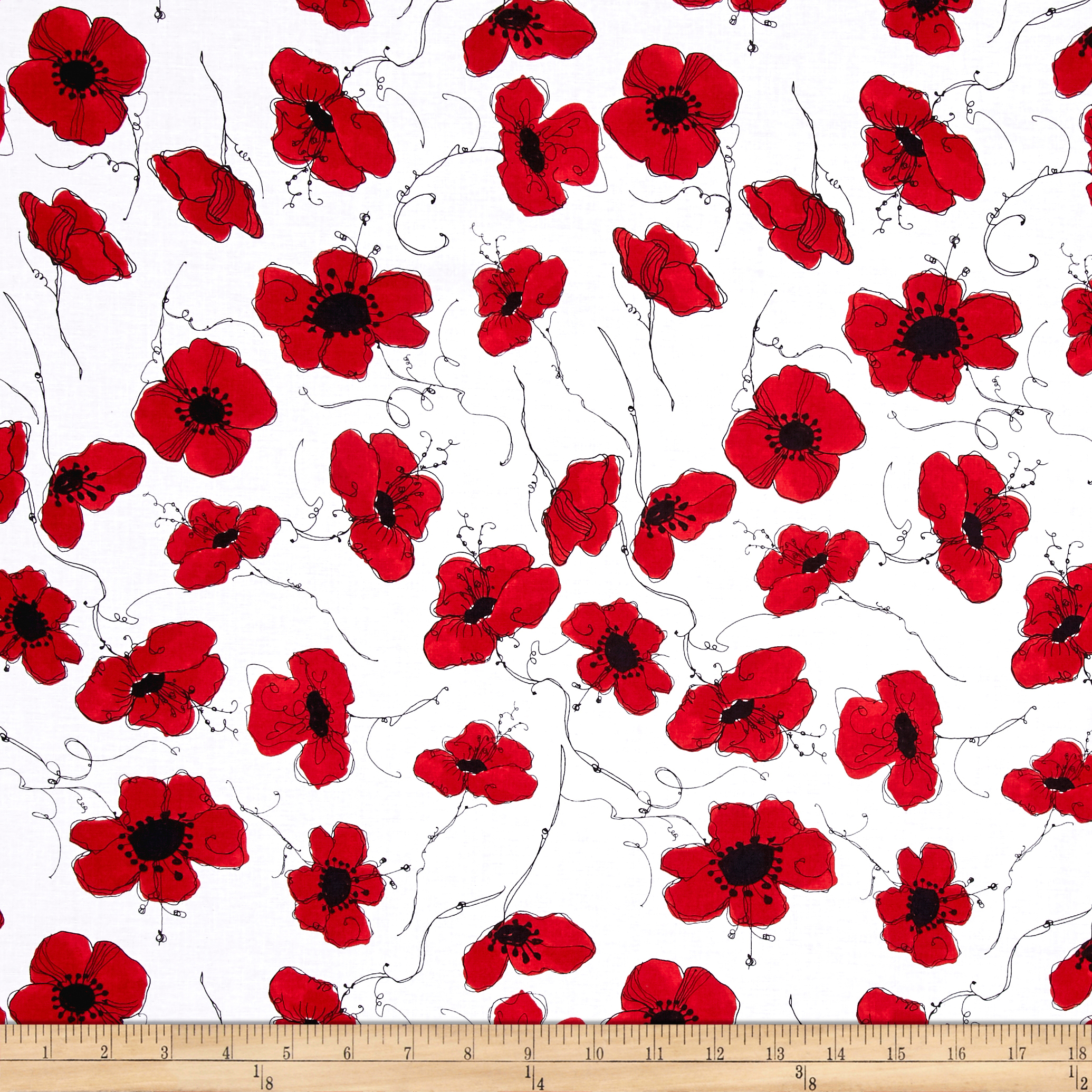 Loralie Designs Lady In Red Poppies White Fabric by E. E. Schenck in USA
