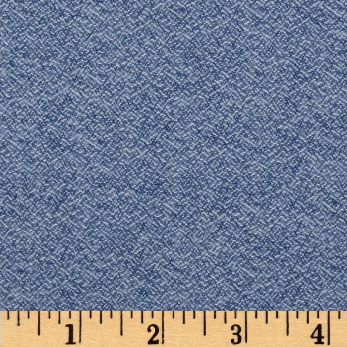 Kaufman Shetland Flannel Textured Solid Denim Blue Fabric By The Yard