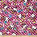 Kokka Sanrio Hello Kitty Fancy Brain Sheeting Hot Pink