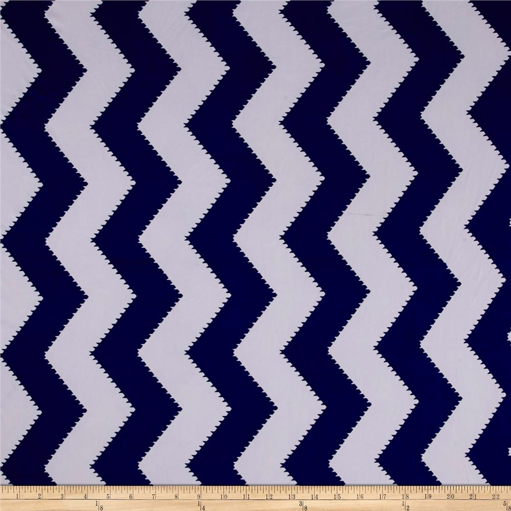 ITY Stretch Jersey Knit spiked Chevron Royal Blue/White