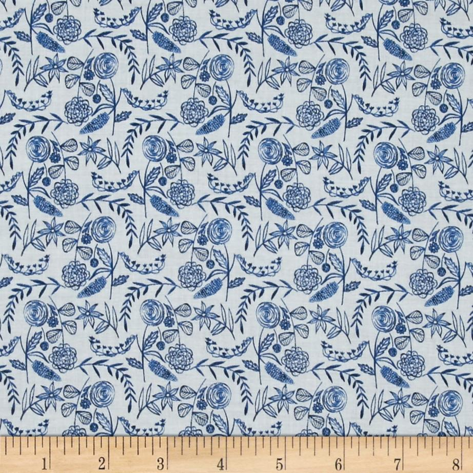 Cloud 9 Organic Moody Blues Voile Floral White