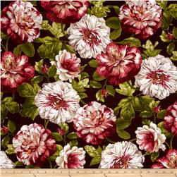 Romantic Afternoon Flannel Large Floral Burgundy