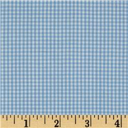 Stretch Gingham Light Blue/White
