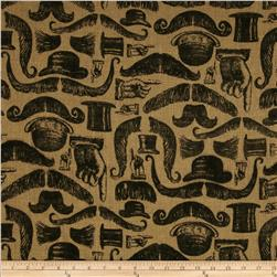 Printed Burlap Mustaches Natural/Black Fabric
