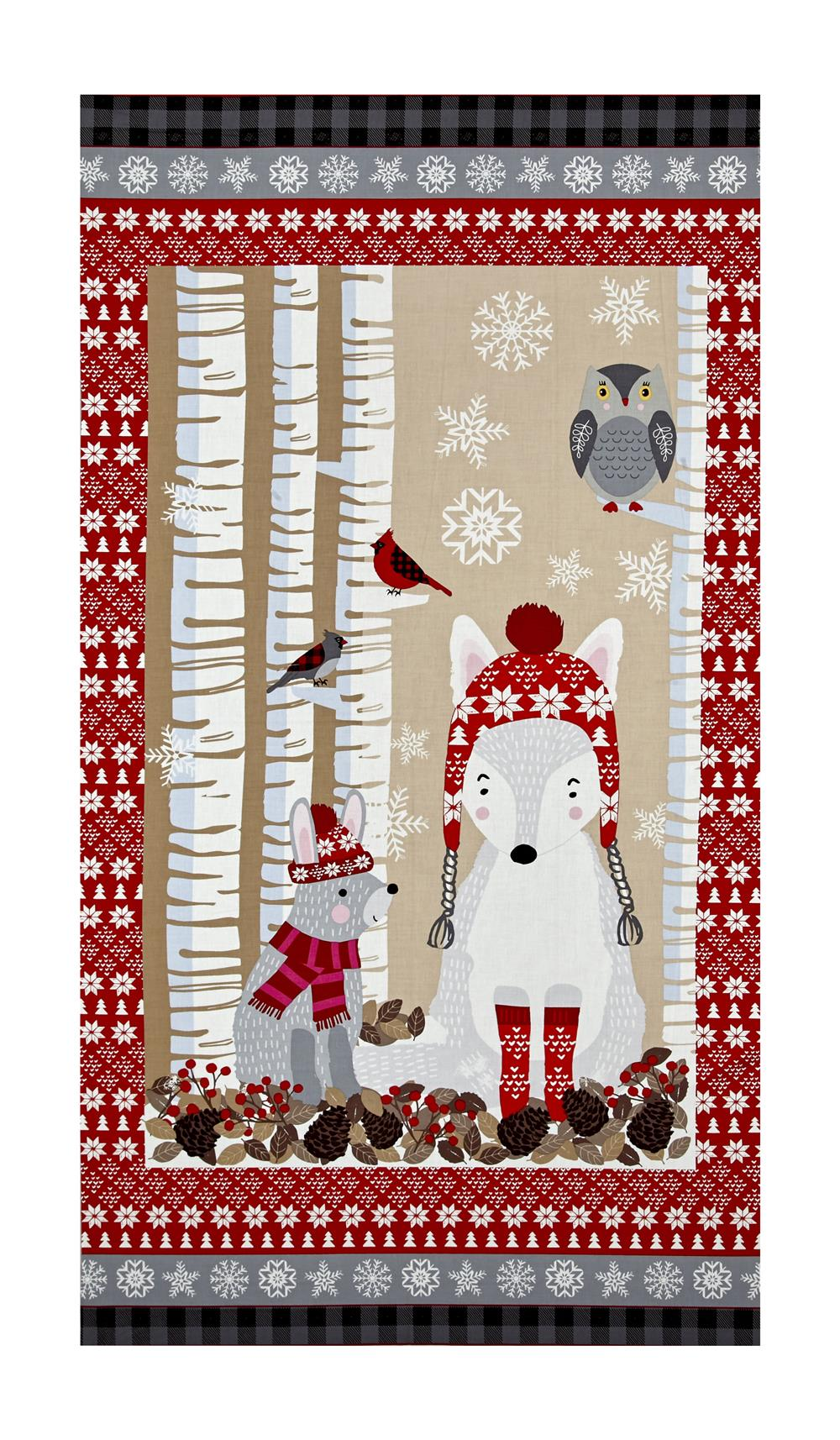 Natalie Alex Snow Delightful 24'' Panel With Winter Animals Gray/Red Fabric