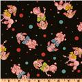 Kokka Trefle Cotton/Linen Blend Canvas French Poodles Black/Pink