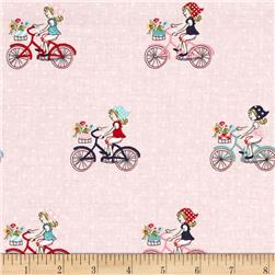 Riley Blake Vintage Market Bike Ride Pink