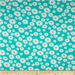 Rayon Jersey Knit Assorted Daisies on Jade