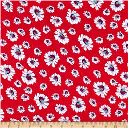 Rayon Challis Floral Red/White