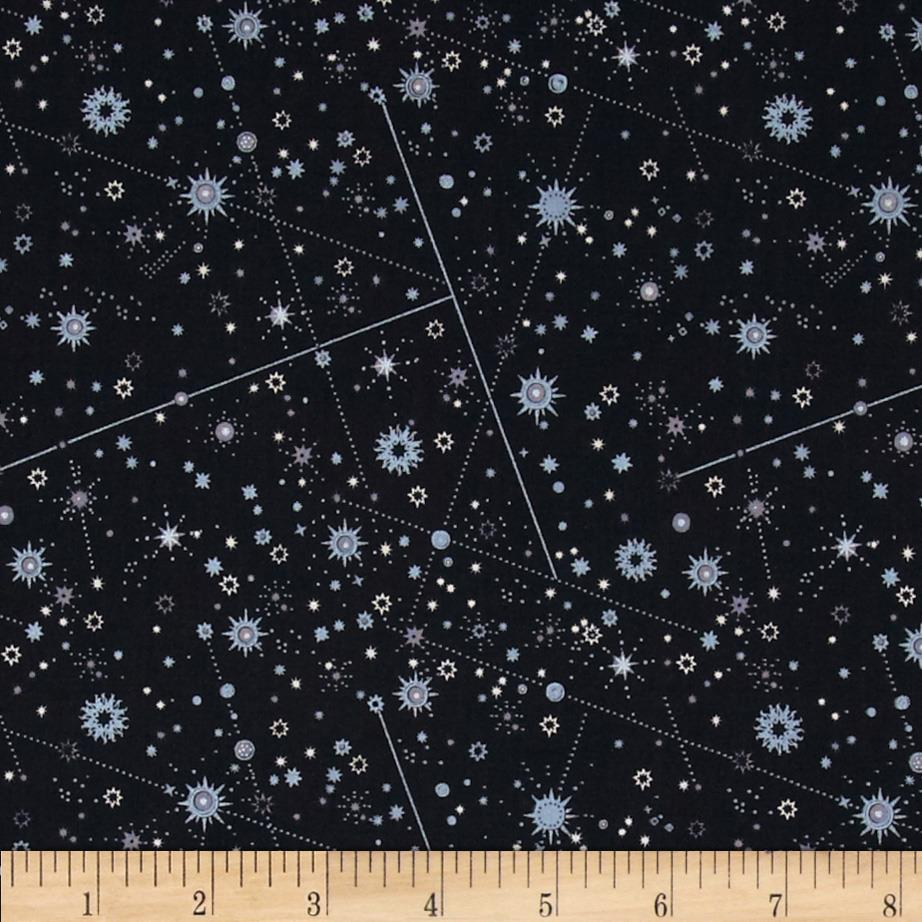 Celestial metallic constellations black silver discount for Celestial pattern fabric