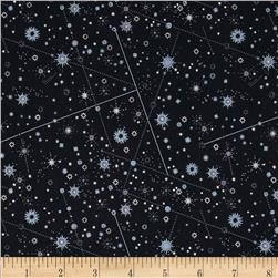 Celestial Metallic Constellations Black/Silver Fabric