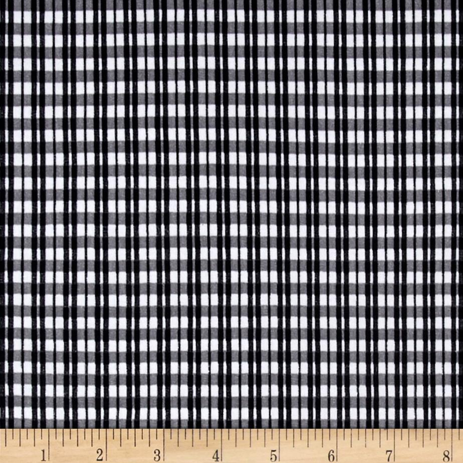 Gingham Stripes Poly Stretch ITY Knit Black/Charcoal