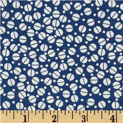 Tossed Dots Royal Blue/White Fabric