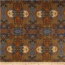 Rayon Challis Bohemian Chic Prints Gray/Orange
