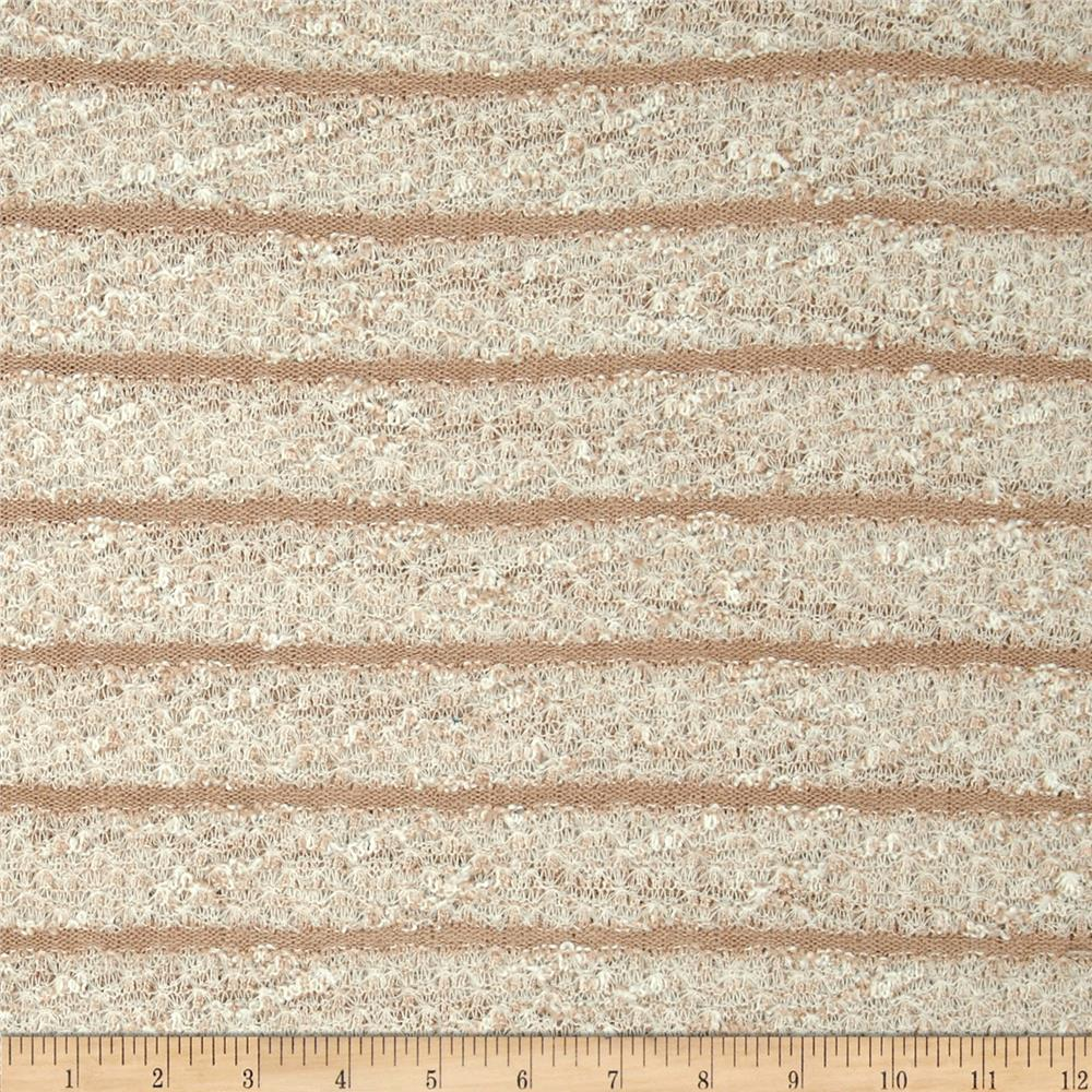 Open Weave Boucle Sweater Knit Stripe Tan/White