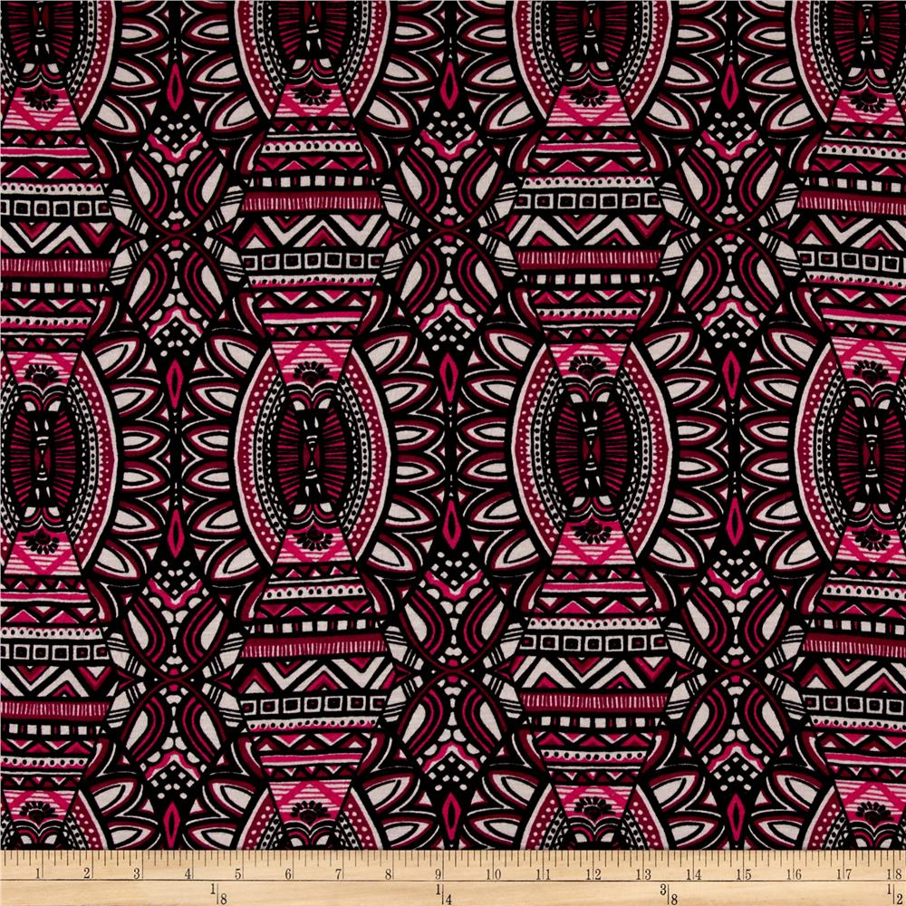 Jersey Knit Tribal Print Fuchsia Black