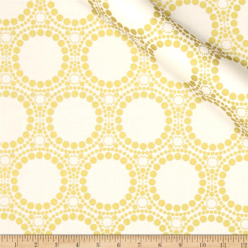 Orbit Metallic Large Circle Dot Gold/Cream