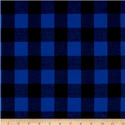 Cotton Lawn Buffalo Plaid Black/Electric Blue