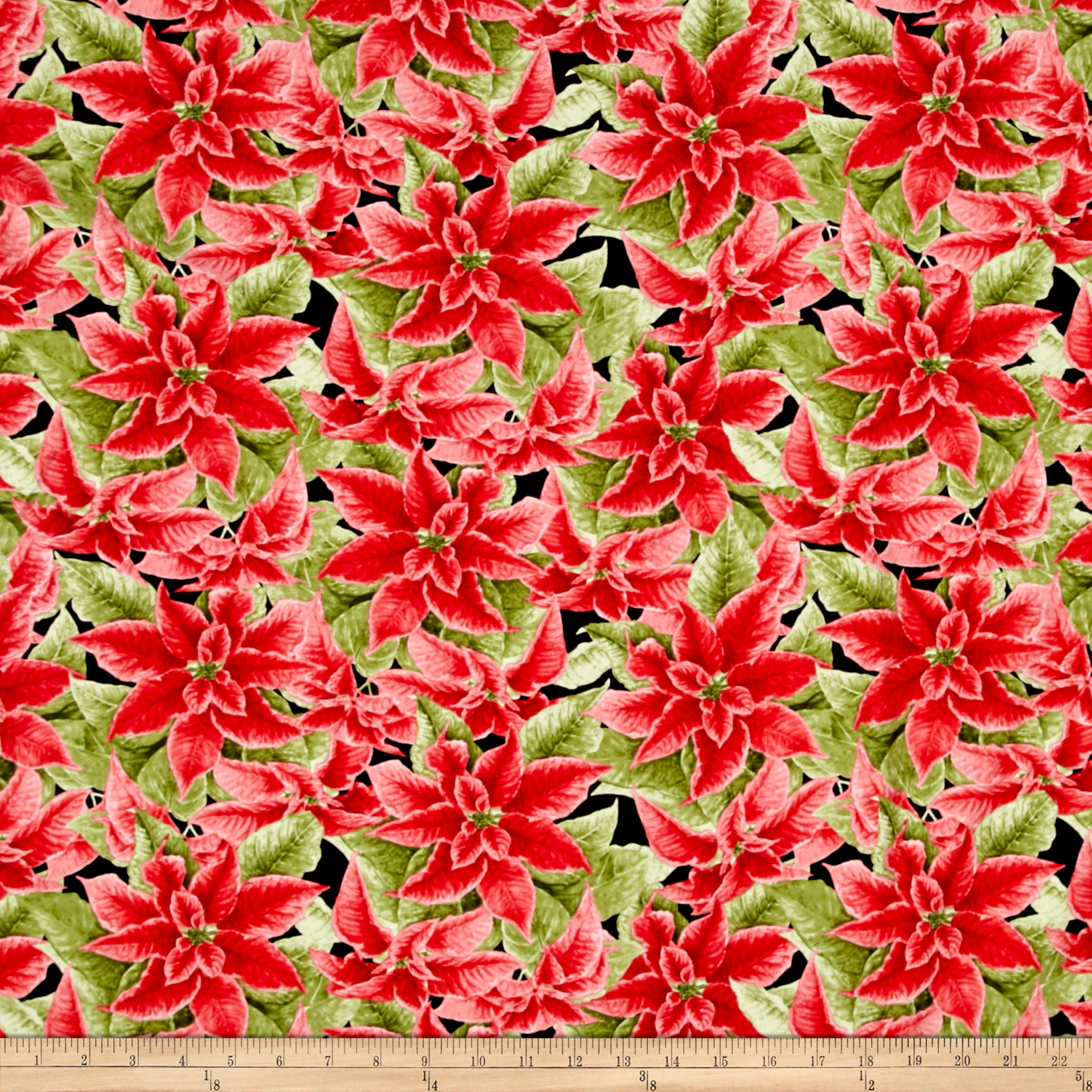 Christmas Elegance Poinsettia Black Fabric by Henry Glass in USA
