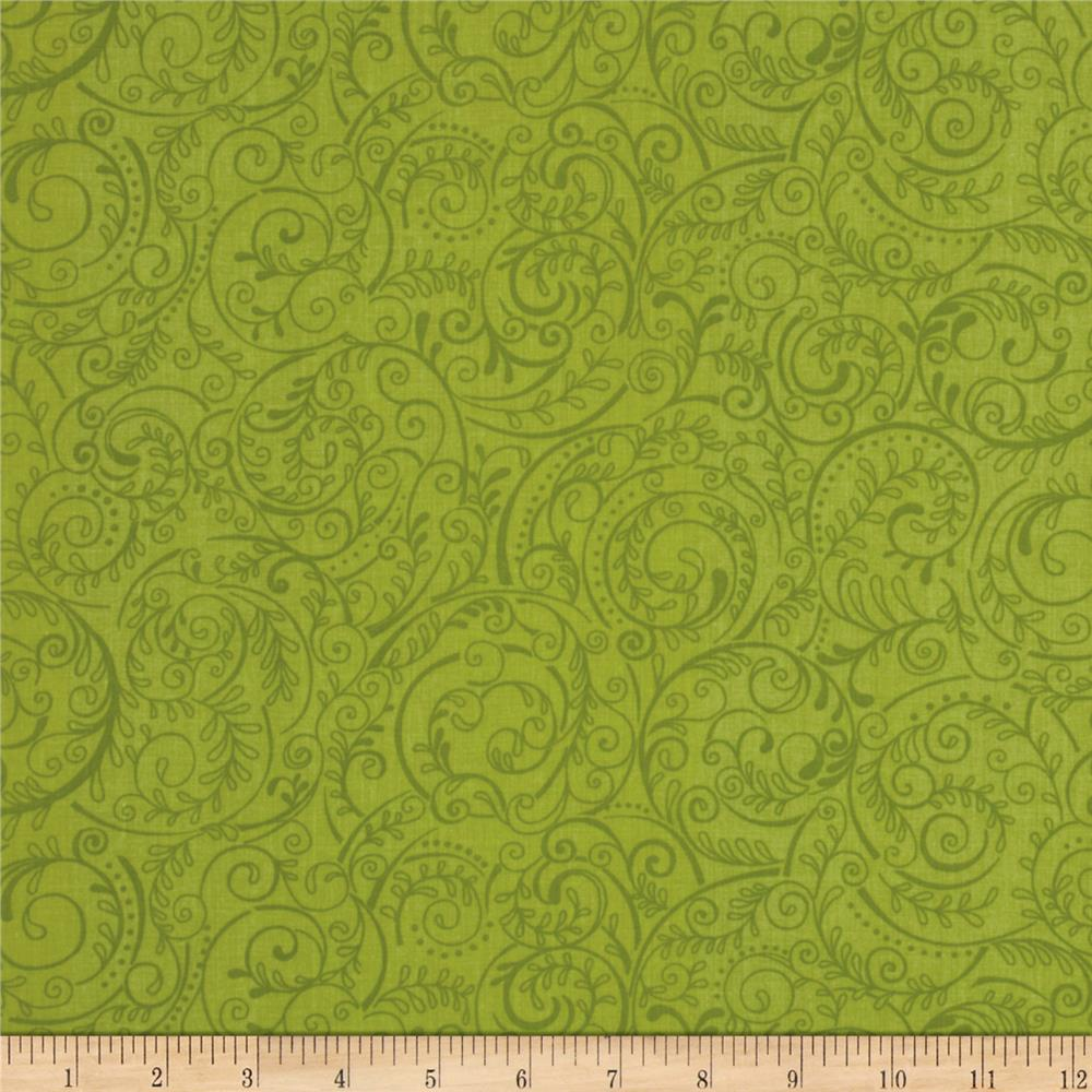 "Charleston 108"" Wide Quilt Backing Swirly Vine Celadon"
