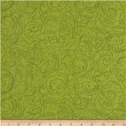 Charleston 108'' Wide Quilt Backing Swirly Vine Celadon