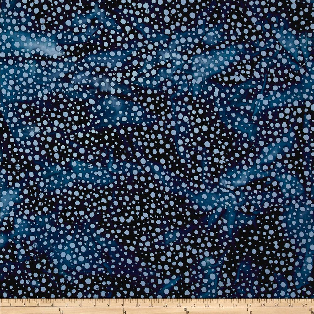 Indian Batik Moody Blues Dots Blue