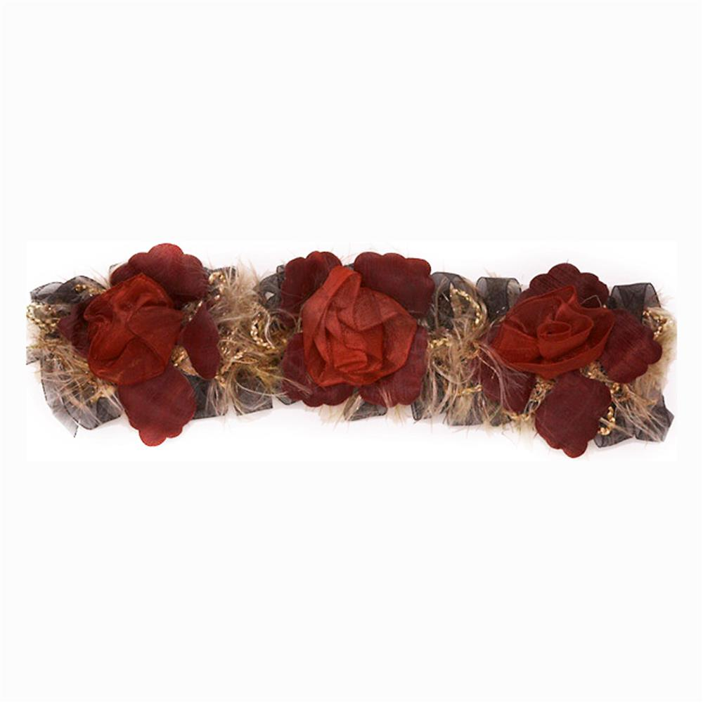 "3"" Macey Stretch Flower Trim Burgundy"