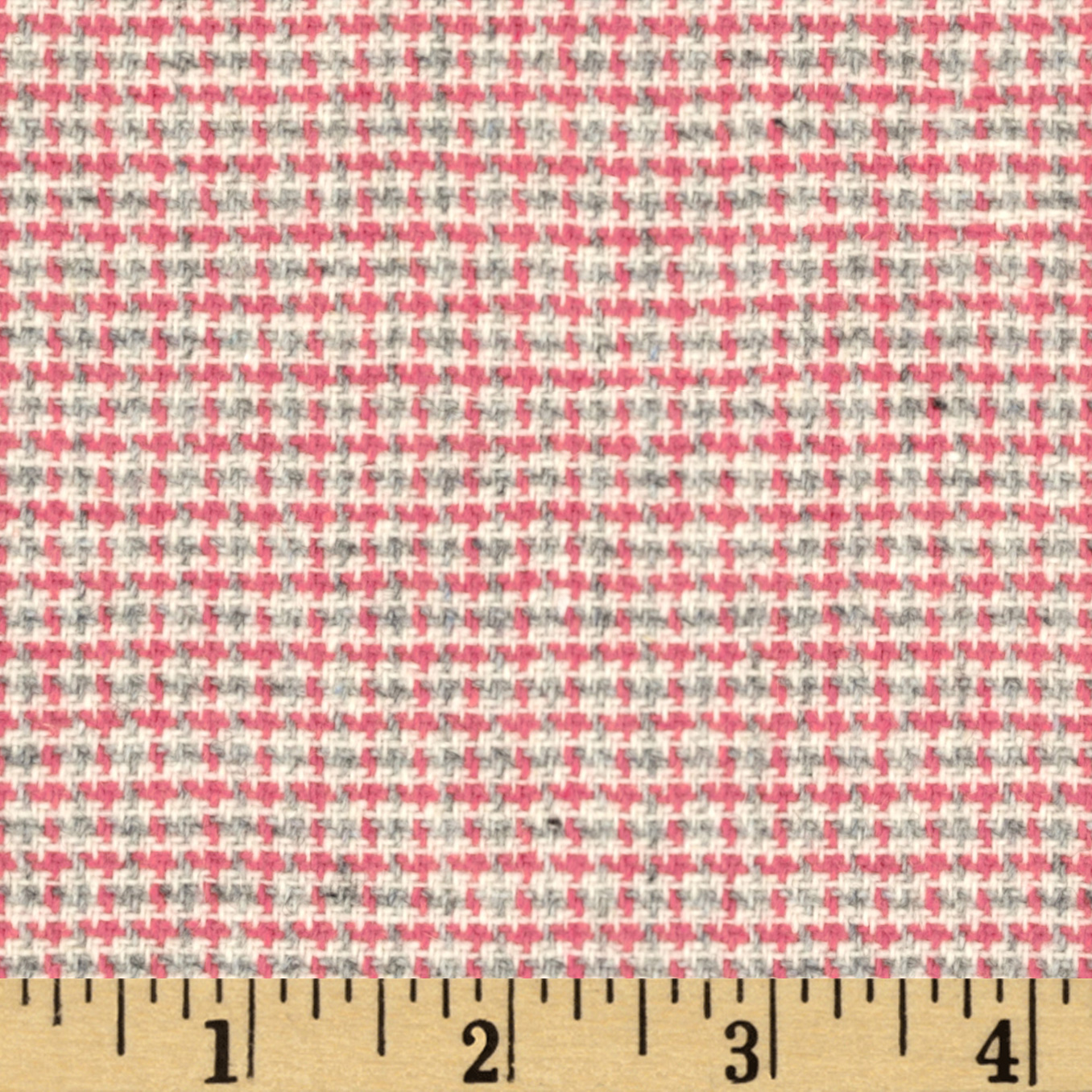 Wool Blend Coating Mini Plaid Pink/Grey Fabric
