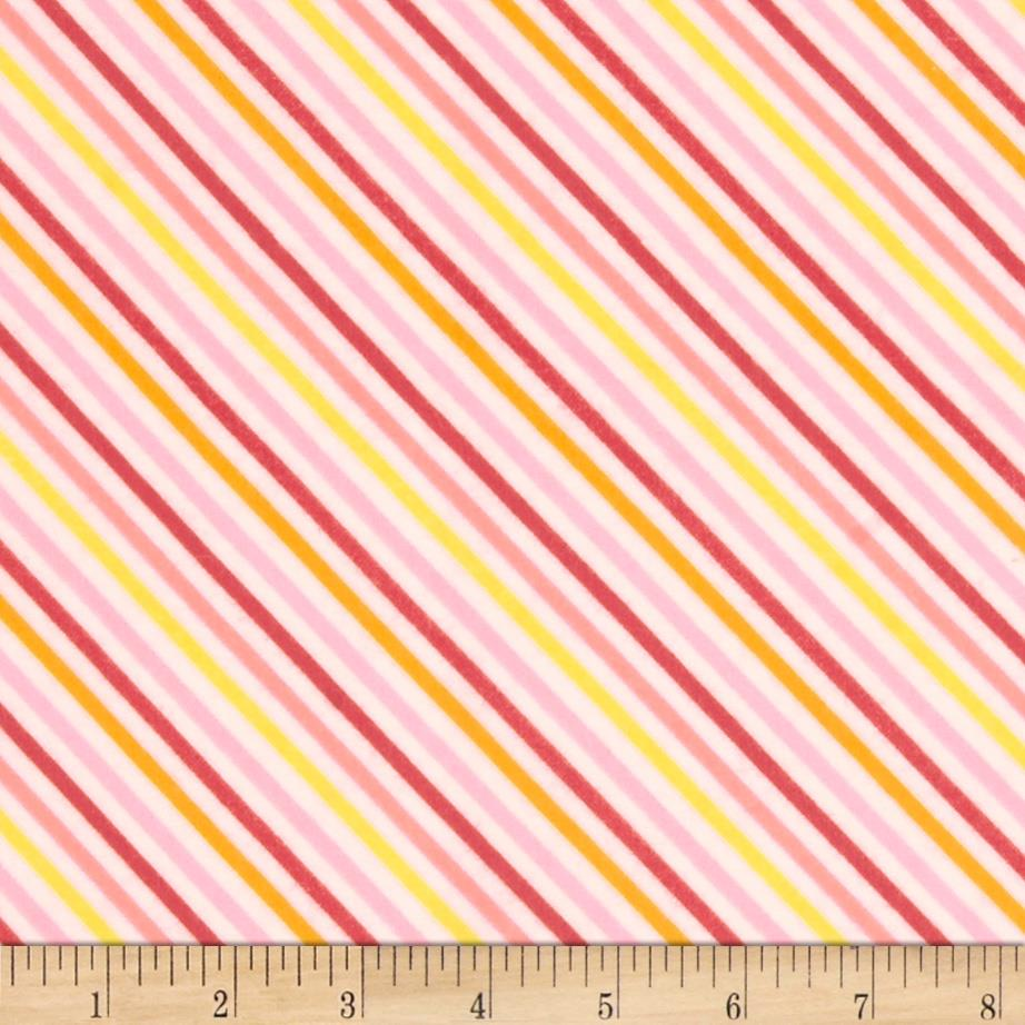 Riley Blake Fancy Free Flannel Stripe Pink Fabric By The Yard