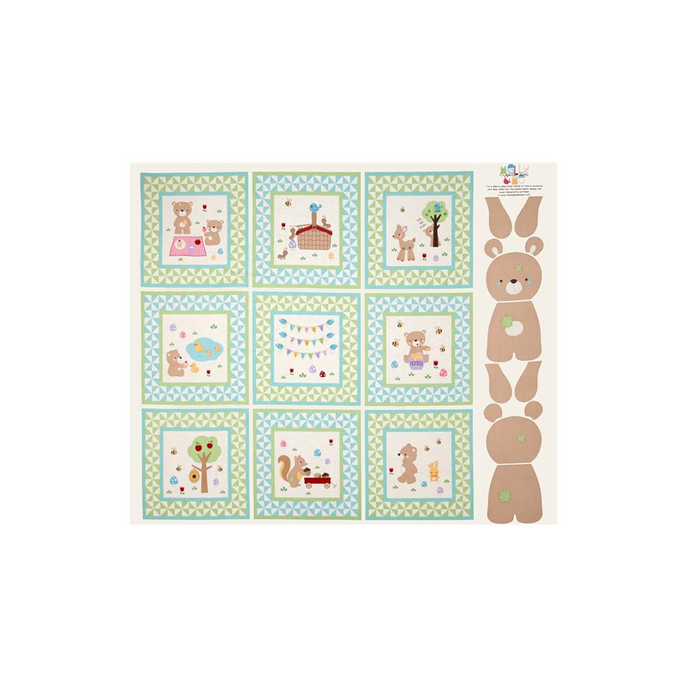 Riley Blake Teddy Bear's Picnic Teddy 36 In. Panel Green
