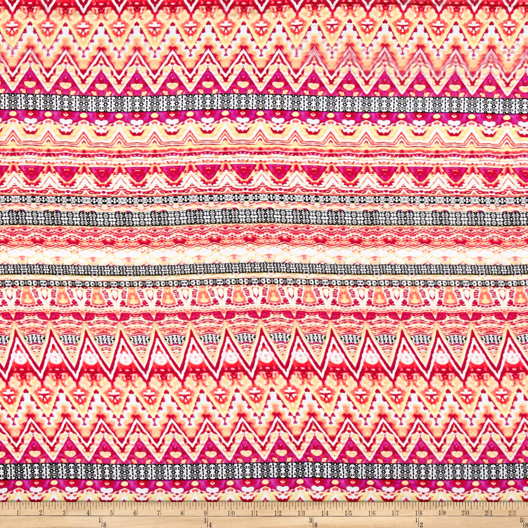 Rayon Challis Stripe Chevron Pink/Yellow Fabric