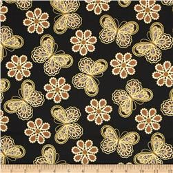 Metallic Lace Butterflies and Flowers Metallic Black/Gold