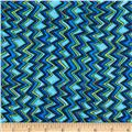 Quilting Treasures Monster Mash Mini Chevron Blue