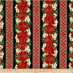 Timeless Treasures Christmas Morning Metallic Poinsettia & Floral Stripe Black