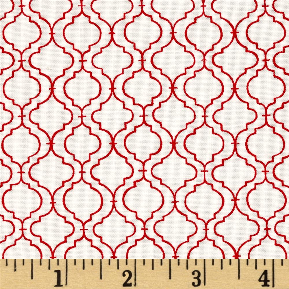 Moda Ever After Quatrefoil Lattice Ivory/Red