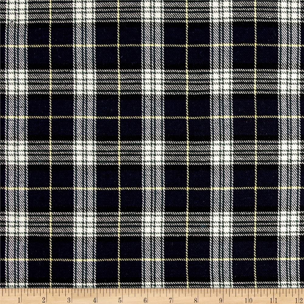 Yarn Dyed Plaid Flannel Navy/White Fabric