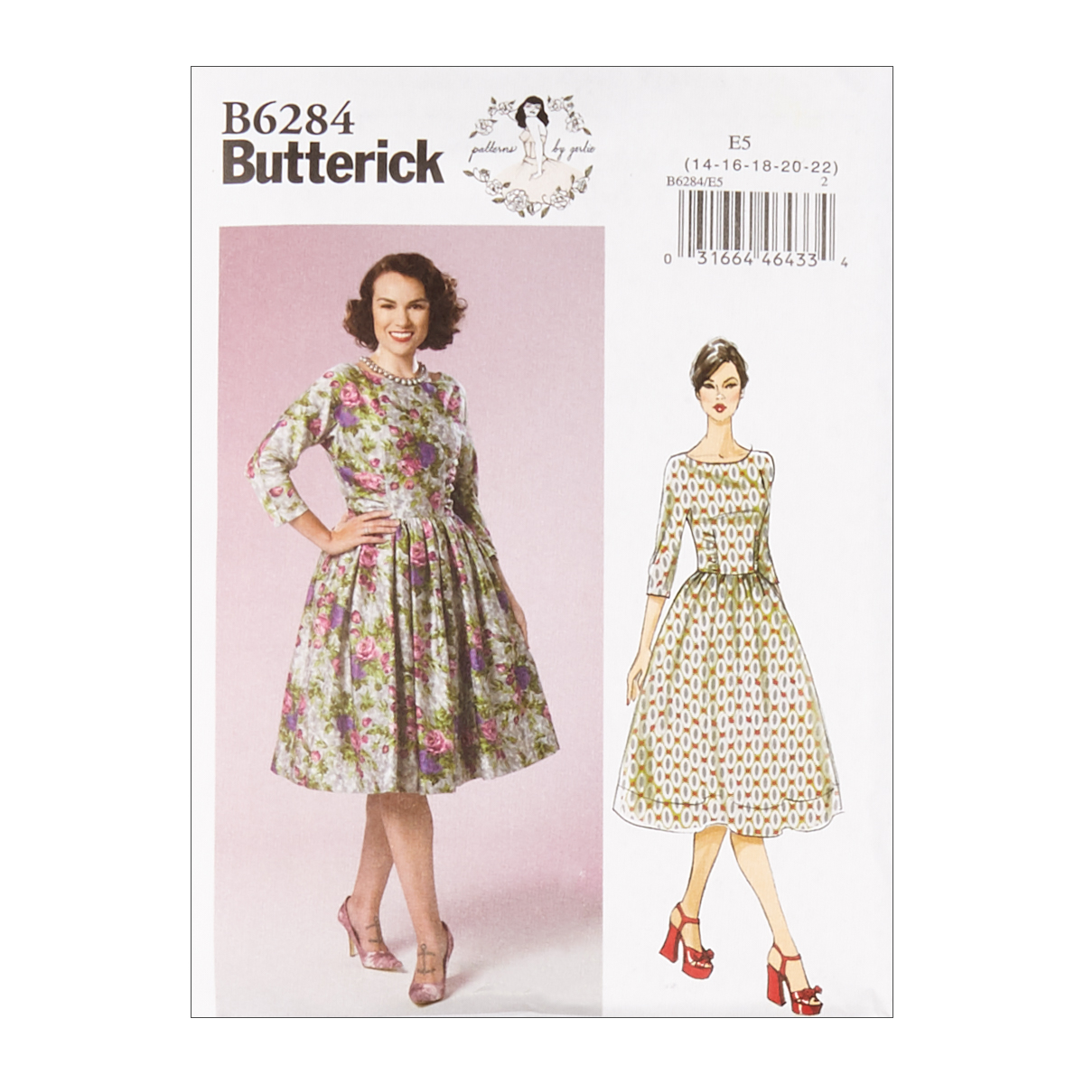1950s Sewing Patterns | Dresses, Skirts, Tops, Mens Butterick B6284 Patterns by Gertie Misses Dress E5 Sizes 14-22 $11.97 AT vintagedancer.com