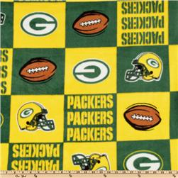 NFL Fleece Green Bay Packers Squares Green/Yellow/White Fabric