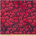 Island Batik Quilted in Honor Batik Flowers Navy/Red