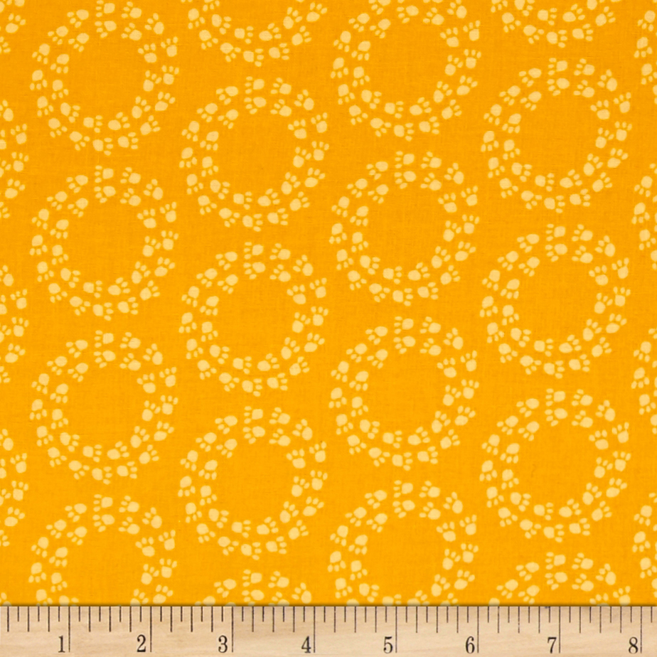 Kaufman Doodle Pop Paw Prints Yellow Fabric