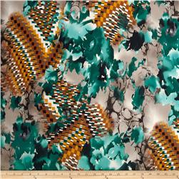 Venice Stretch ITY Jersey Knit Abstract Teal/Orange Fabric