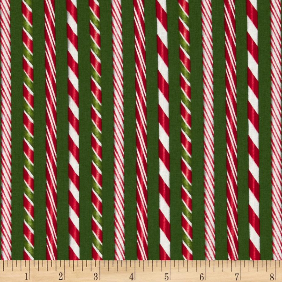 Holly Jolly Christmas Candy Cane Stripe Evergreen
