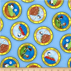 Camp Peanuts Camping Badges Blue Fabric