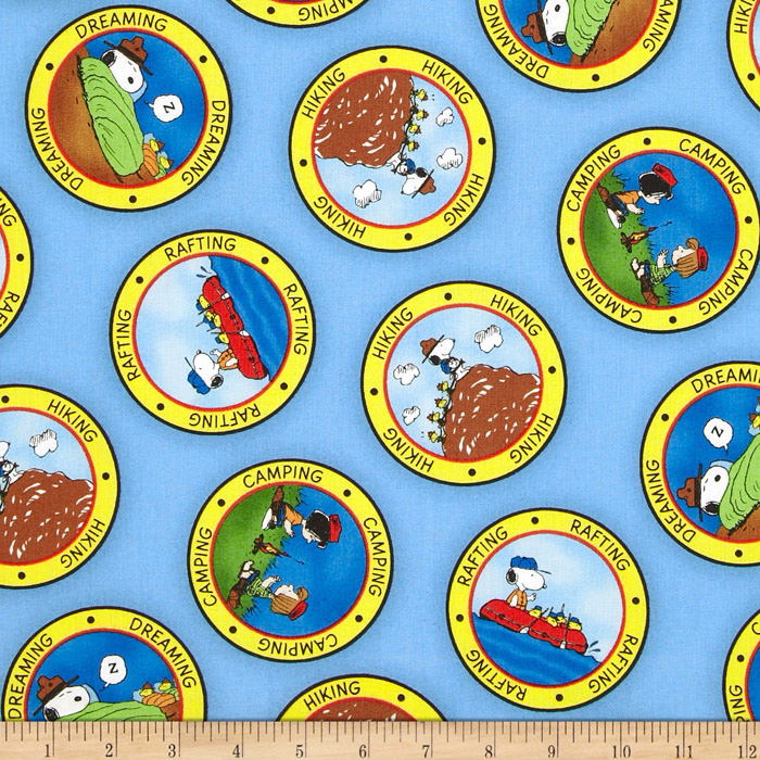 Image of Camp Peanuts Camping Badges Blue Fabric