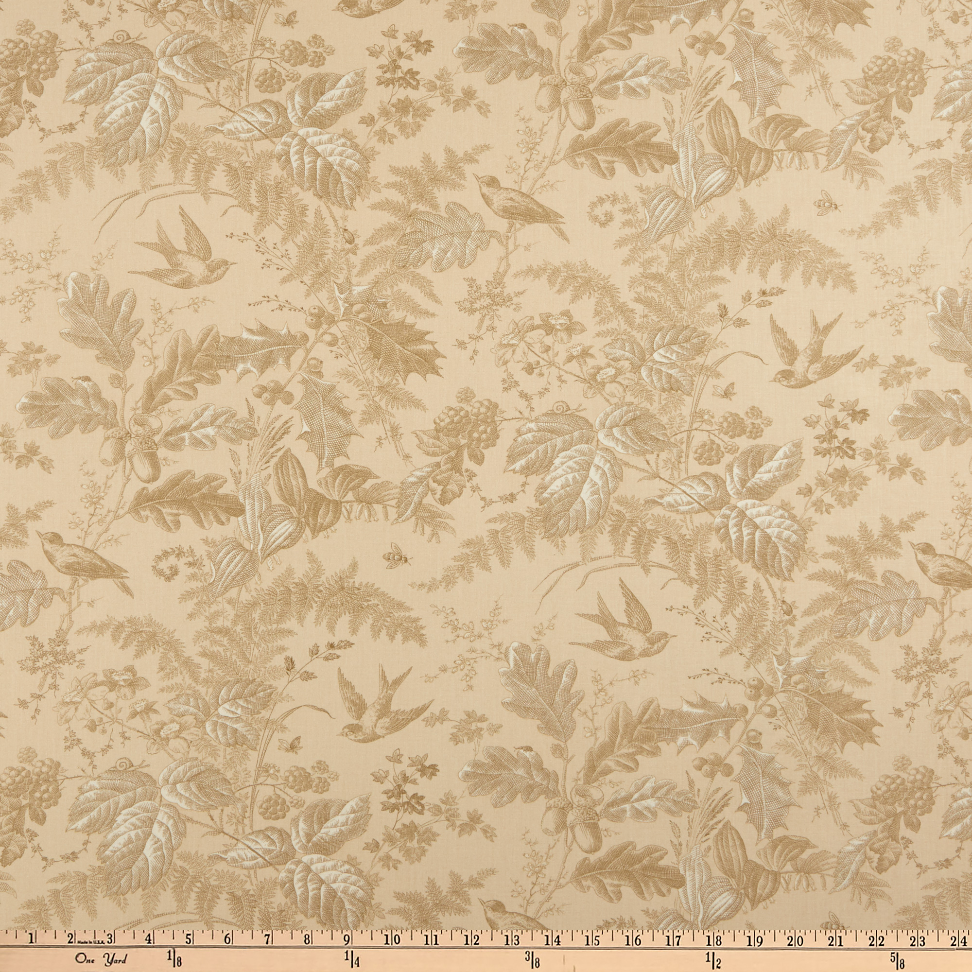 Andover Evergreen Toile Husk Fabric