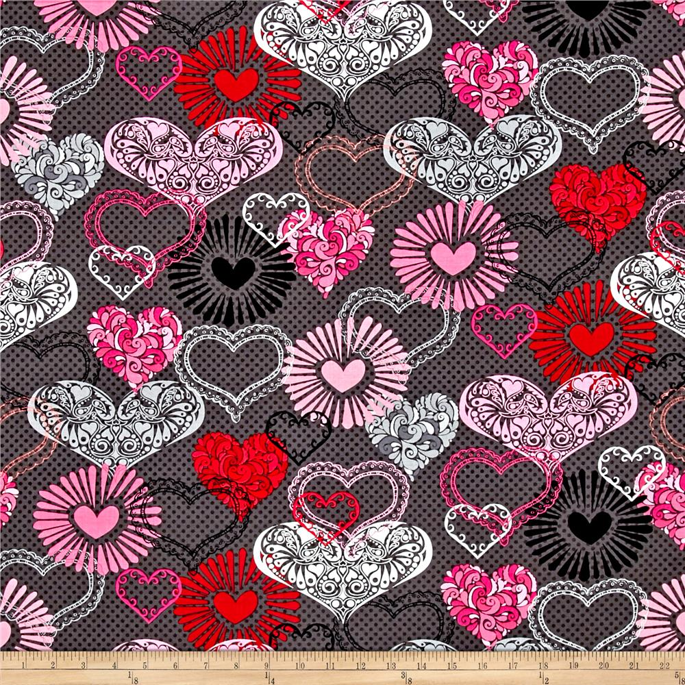 Adore Large Hearts Dark Grey