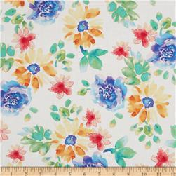 Petal Poetry Floral White Fabric