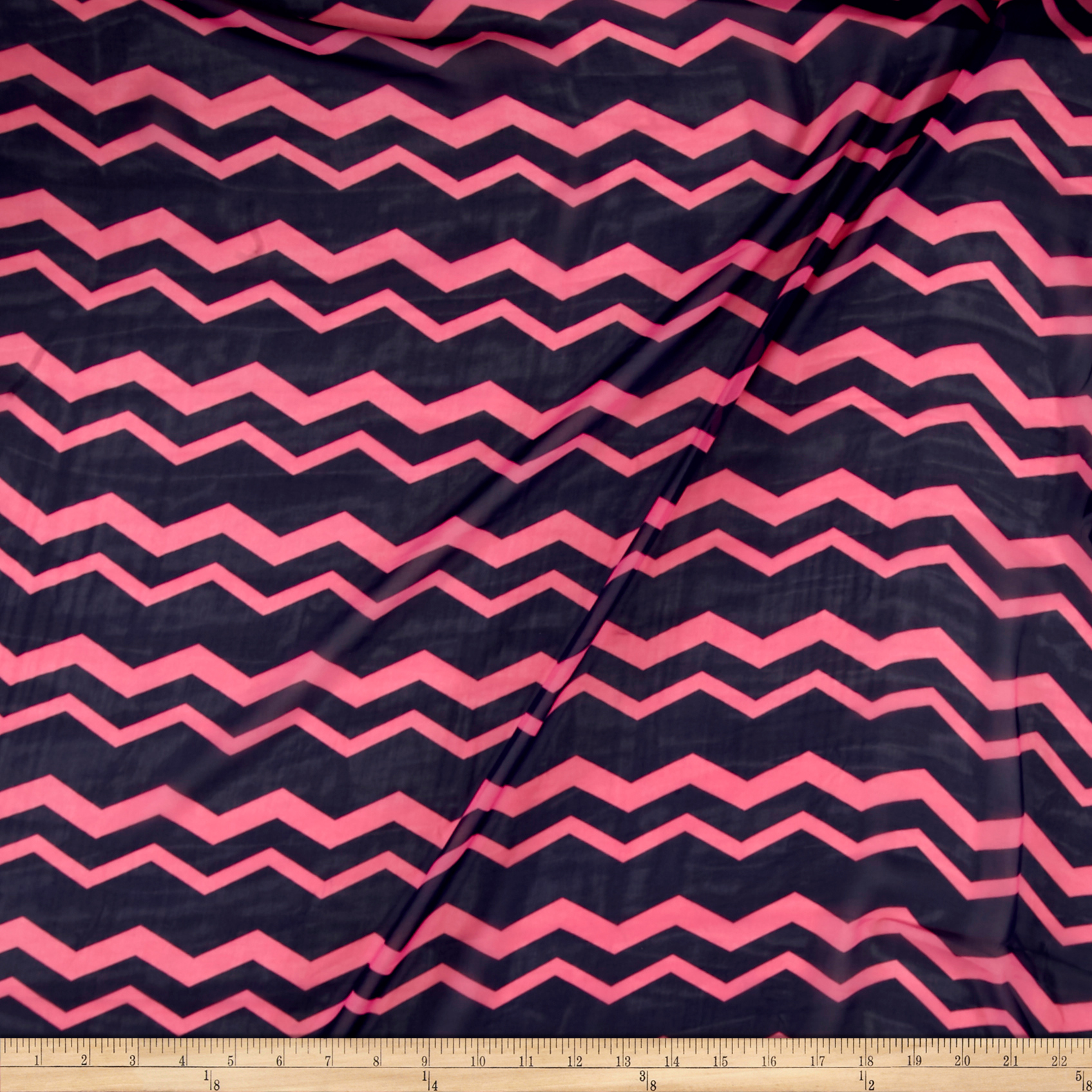Polyester Prints Chiffon Chevron Pink/Navy Fabric