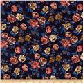 Slub Rayon Jersey Knit Floral Blue/Yellow